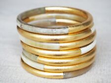 Set 07 Bracelets Jewelry Bs07.G Thick Natural Buffalo Horn Gold Bangles