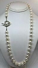 "Tiffany & Co Elsa Peretti Sterling 925 Open Heart Toggle Pearl Necklace 16 """