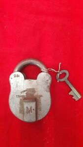 Antique Vintage Old Lock Solid Brass 2'' Padlock & Key Very Rare Collectible A-9