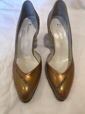 VINTAGE CHRISTIAN DIOR SOULIERS GOLD PATENT & SNAKE LEATHER PUMPS Size 6/240