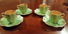 4 Coalport Demitasse Cup & Saucer  English Gilt Hand Painted Green, 1891-1919