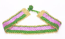 EASTERN INSPIRED GRASS GREEN, FUCHSIA AND GOLD WOVEN BEADS RIBBON CHOKER (ZX44)