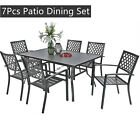 Patio Dining Set Of 7 Outdoor Furniture Dining Metal Table Chair Set Garden Yard