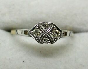 Beautiful Art Deco 18 Carat Gold And Platinum Diamond Ring Size O