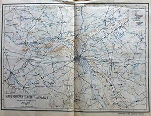 Warschau Umgebung Landkarte Warsaw old map Warszawa mapa 1921
