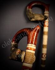 Wolf Hand Carvin Canes Walking Sticks Wooden Unique Handmade Cane Vintage Gift *