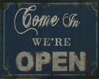 "VINTAGE RUSTIC STYLE WINDOW OPEN SIGN PLAQUE ""COME IN WE'RE OPEN"""