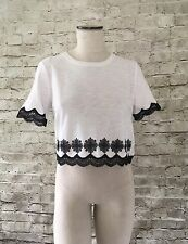 TopShop Scallop Lace Crop T-Shirt Size 6 Nordstrom Short Sleeves