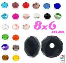 Tschechische Kristall Perlen Rondell 8 x 6 mm 20stk Glasperlen Schmuck Wählen
