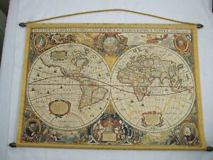 Nova Totivs Terrarvm Orbis Geographica Ac Tabvia Canvas Wall Hanging Map 1630