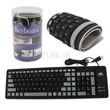 New 103 Keys Usb 2.0 Silicone Roll Up Foldable Pc Computer Keyboard US