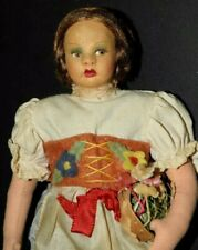 """Magis Roma Lenci Style provincial 7"""" Doll with Felt flower Vest & Small Basket"""