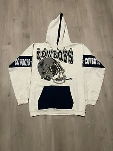 Vintage NFL Dallas Cowboys Spellout Logo Helmet Double Sided Hoodie Sweatshirt