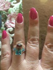 Size 7-5.24ct Aqua Terra Costa Quartz, Neon Apatite Platinum Over Sterlng Ring