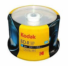 50 KODAK 6X Blank BD-R BDR Blu-Ray Logo Branded 25GB Media Disc