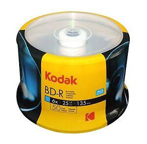 50 KODAK 6X Blank BD-R BDR Blu-Ray Logo Branded 25GB Media Disc