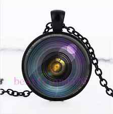 Secret hidden camera lens illusion Cabochon Glass Black Pendant Necklace