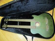 Double Neck Acoustic Electric 5 String/4 String Bass Guitar (green) with Case