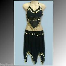 Belly Dance Costume Skirt+Top Coins Belly Dance Carnival Bollywood Head Cover