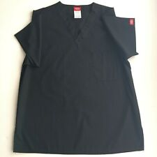 Womens Dickies Size XS Medical Dental Black Scrub Top Chest Pocket NWOT