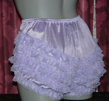 FRILLY RUFFLE NYLON SISSY  PANTIES KNICKERS  LACEY PINK LARGE