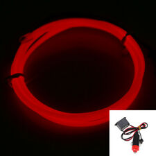 2M RED EL Wire Led Car Interior Decor Fluorescent Neon Strip Cold light Tape 12V