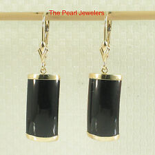 14k Yellow Solid Gold Leverback Curved Shaped Black Onyx Dangle Earrings TPJ