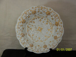 Meissen Antique c1800's Rococo Gold Gilded Lion Head Charger Plate