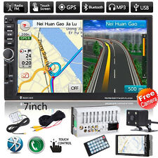 GPS Nav 7'' HD 2DIN Bluetooth Touch Car Stereo Radio MP3 Player FM/USB/AUX+CAM