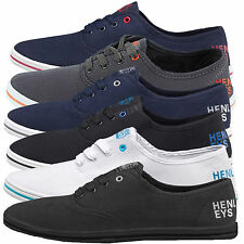 Kids Boys Girls Unisex Henleys Lace Up Trainers Plimsolls PE Canvas Shoes Pumps