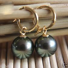 Natural 14mm Tahitian Black South Sea Shell Pearl Silver 14k Gold GP Earring