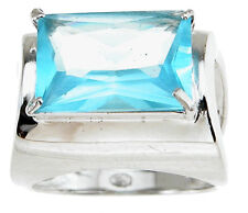 8.0 ct Designer Fashion Simulated Topaz Ring Sterling Silver Platinum Fn Size 8