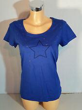 BLEND SHE Damen Shirt  T-Shirt  Gr. M  blau  Sterne  Baumwolle  Kurzarm  NEU