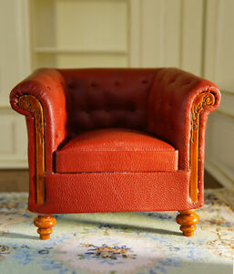 Dollhouse Parlor Armchair Single Sofa 1/12 Wooden Red Leather High Quality