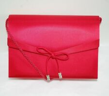 Satin Valerie Stevens Cherry Red Clutch Purse Bag Silver Crystal Accents Bow Vtg