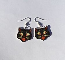 Vintage Black Cat Earrings Halloween Retro Charm