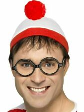 New Wheres Red And White Wenda Hat Glasses Mens Ladies Fancy Dress Costume
