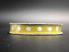 "NEW The Ribbon Boutique, Olive & White Polka Dot Grosgrain Ribbon - 3/8"""