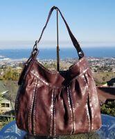 LOCKHEART Mumbai Brown Leather Silver Accents Shoulder Bag, Handbag, Hobo, $595