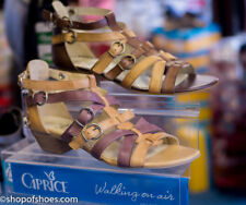 Caprice leather low heel gladiator sandal in sand and purple