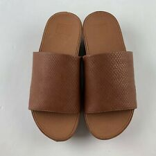 NEW Fitflop Ginny Snake Embossed Women US 7 Caramel Slide Sandal Casual Open Toe
