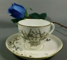 French Antique Aesthetic Porcelain Cabinet Tea Cup and Saucer Hand Painted Birds