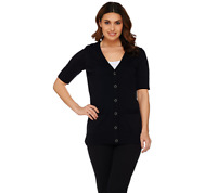 Isaac Mizrahi Live! Essentials Elbow Sleeve Cardigan Size S Black Color