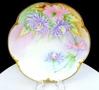 "HR BAVARIA ALICE 9 3/8"" PURPLE & PINK FLORAL SCALLOPED GILDED RIM CABINET PLATE"