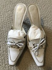 TOD'S WHITE LEATHER MULES: Sz 7, Authentic, Preowned, Orig $610