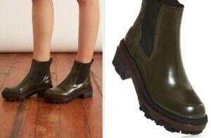 Rag & Bone Shaye Lug Sole Rubber Chelsea Boot Legion Green Leather 7.5 RTL $525