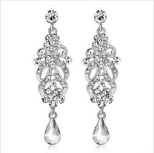 Daisy Clear Austrian Rhinestone Chandelier Dangle Earrings Prom Pageant Wed E33