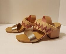 ASKA Sarah Metallic Raffia Slingback Sandals 👠 Sz 38 7.5 Made in Italy NEW NIB