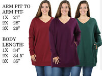 WOMENS PLUS SIZE LOOSE FIT COMFY V-NECK PULL OVER SWEATER TOP SHIRT TUNIC 1X-5X