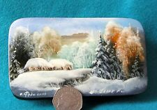 Russian Hand Painted long trinket LACQUER Box FEDOSKINO WINTER FOREST GUSACK